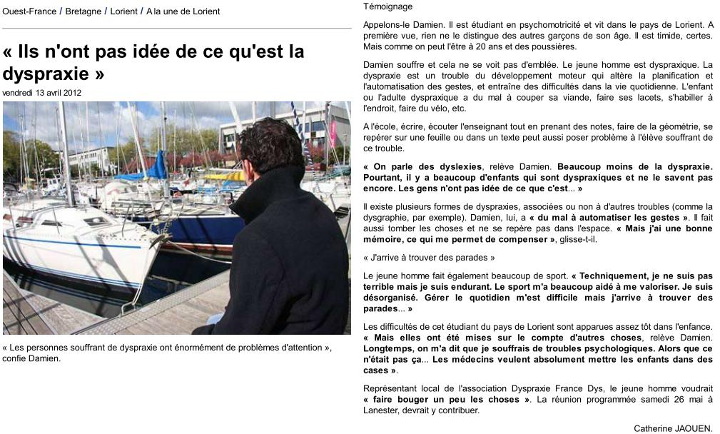 Ouest France 13-04-2012