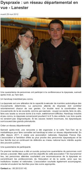 Article Ouest France 29-05-2012