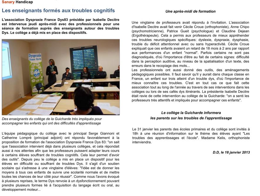 Article Six-Fours du 18-01-2013