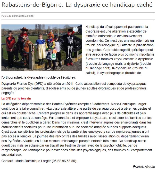 Article dans La Dépêche du 8 avril 2013