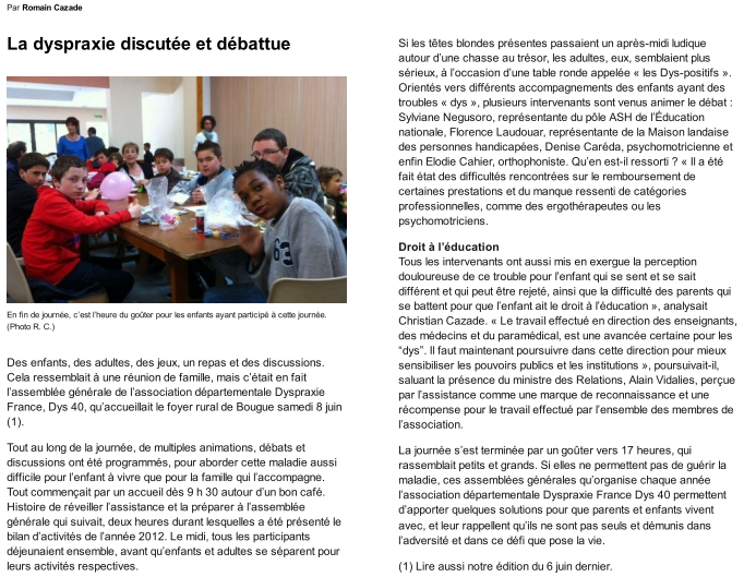 Article Sud Ouest 17/06/2013