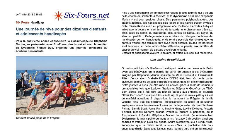 Article Six-Fours.net du 7/07/2013