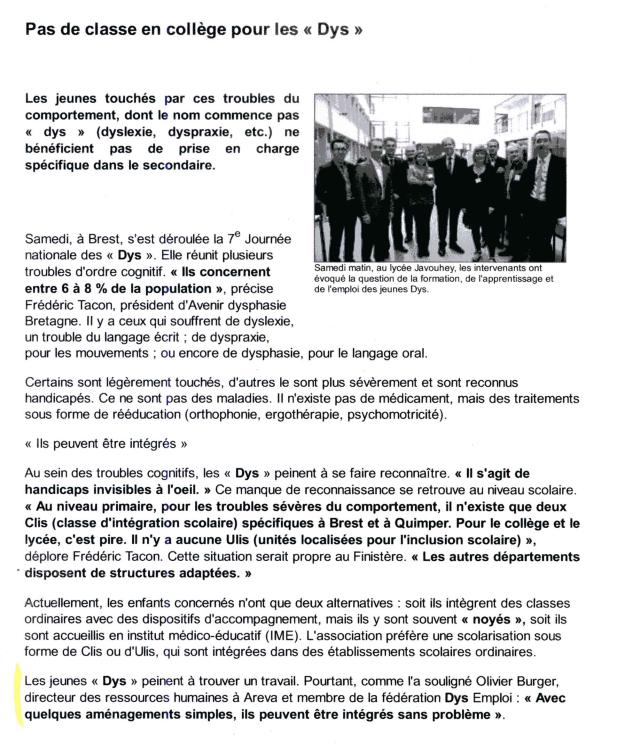 Article dans Ouest-France du 21/10/2013