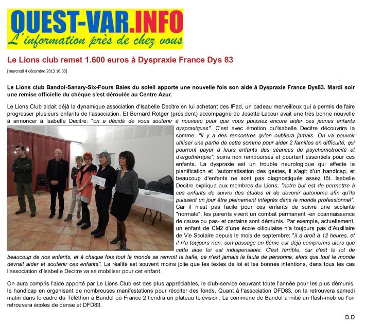 Article Ouest-Var du 4/12/2013
