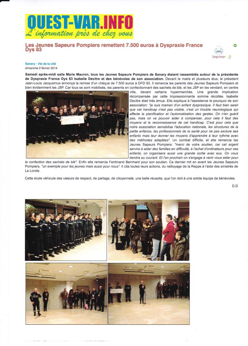 Article Ouest-Var 2/02/2014