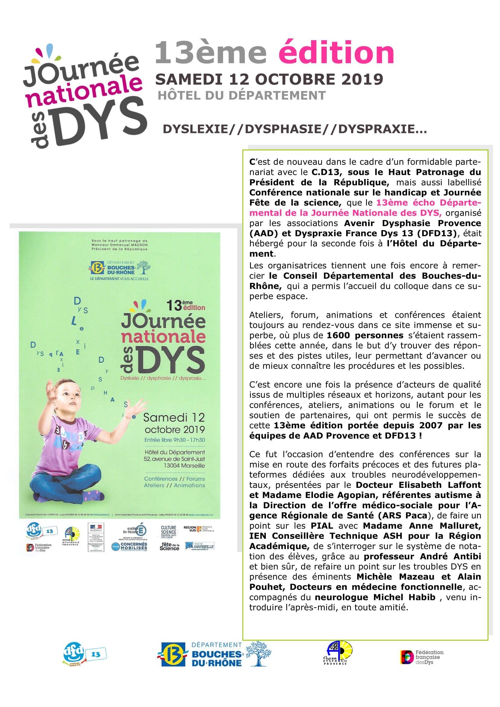 DFD 13 : Infos Journée DYS et retours 2019