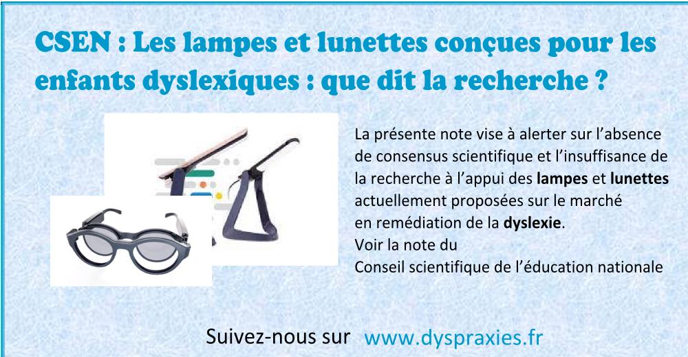 Note du CSEN sur les lampes et lunettes pour dyslexiques